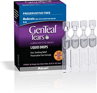 ALCON GenTeal Tears Lubricant Eye Drops, Moderate Liquid Drops, 36 Sterile, Single-Use Vials, 0.9-mL Each