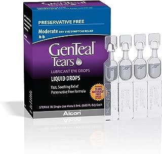 ALCON GenTeal Tears Lubricant Eye Drops, Moderate Liquid Drops, 36 Sterile, Single-Use Vials, 0.9-mL Each