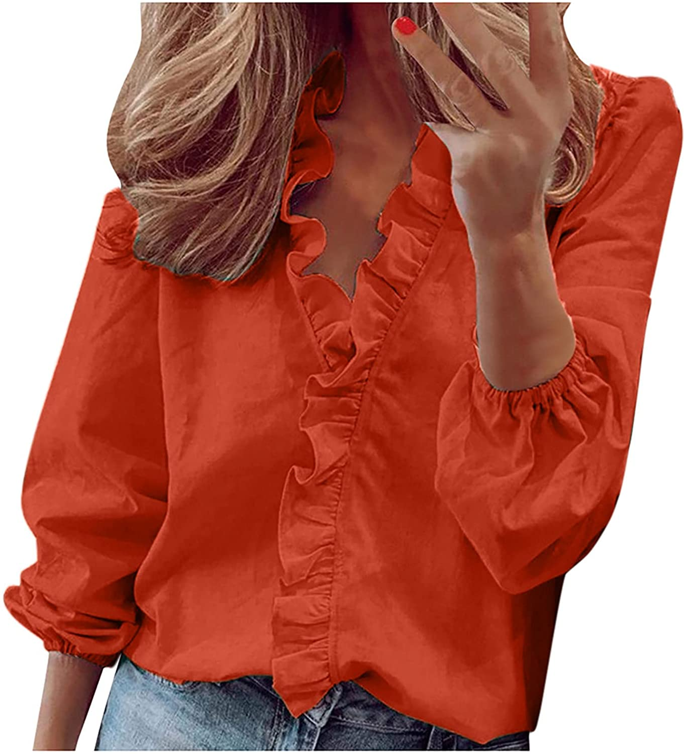 Blouses for Women Plus Size Shirt Casual Ruffled Full Sleeve Tops Solid V Neck Tunic Ladies Summer Loose Pullover Tops