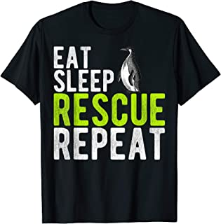 Vintage Eat Sheep Rescue Penguin Repeat Gift Animals Lover T-Shirt