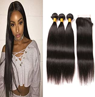 Straight Hair Weave Bundles With Free Lace Closure 4x4 Front 100 Mink Human Hair Extensions Free Part 3 Bundles and Lace Closure Cheap Hair Weaves Natural Color 20 22 24 + 18 Inch