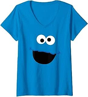 Womens Sesame Street Cookie Monster Face V-Neck T-Shirt