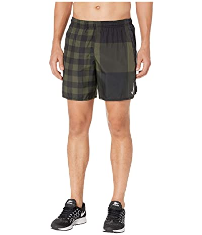 Nike 7 Challenger Shorts Brief Windrunner Pull-On (Cargo Khaki/Black/Reflective Silver) Men