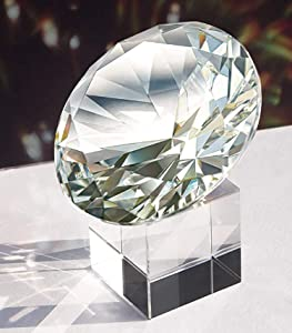 MerryNine Top K9 Clear Crystal Diamond Paperweight decoration for Wedding, Store, Home, Office, Bar, ect; Best gift for lover, family and friends ect. (White, 80mm)