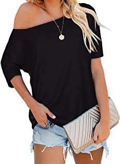 Sipaya Women's Off The Shoulder Tops Casual Loose Fitting T Shirts