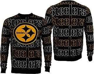 FOCO NFL Mens Pittsburgh Steelers Wordmark Repeat Crew Neck Sweater