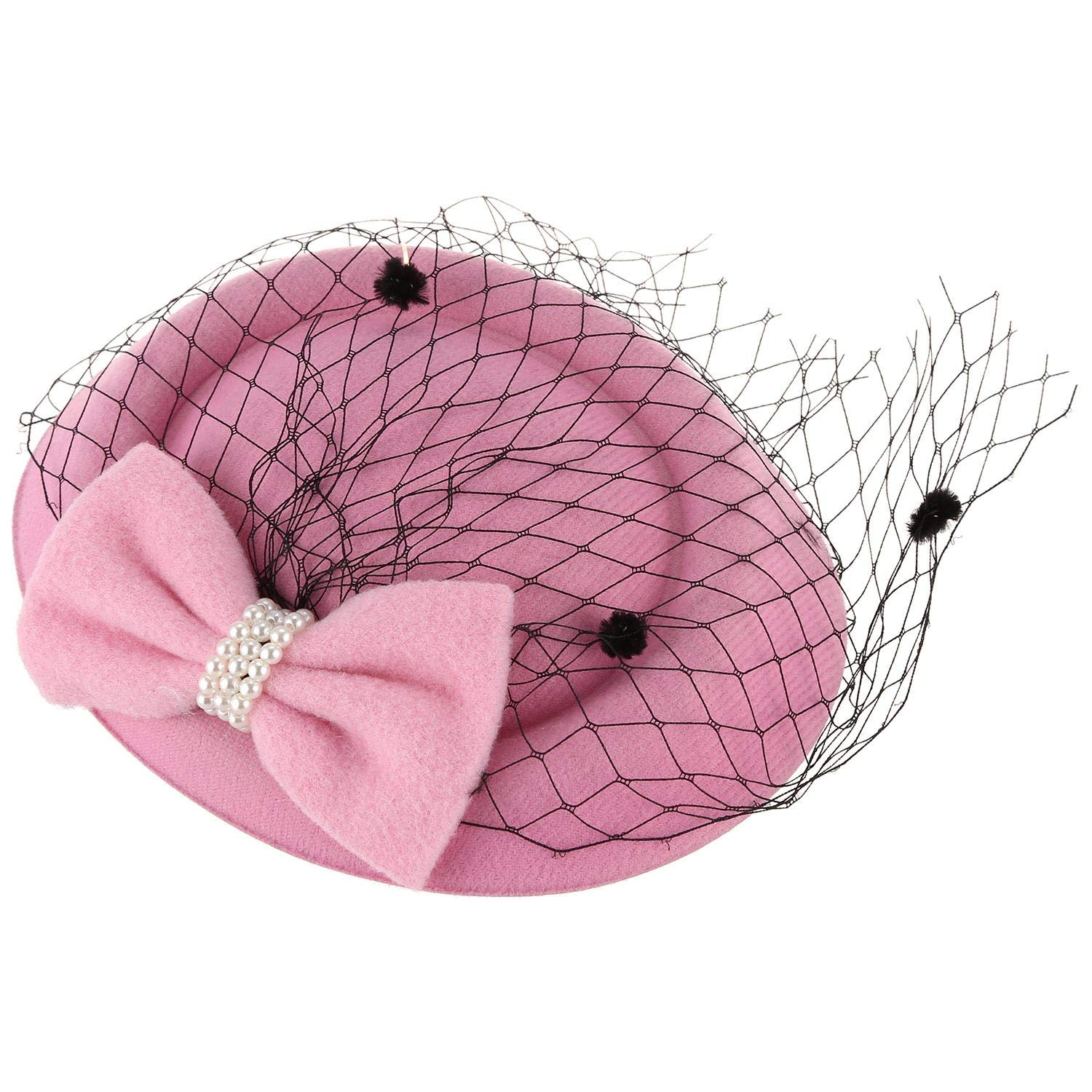 XIAOJIA Women's Fascinators Hat Pillbox Hat Cocktail Party Hat with Dot Bowknot Hair Clip Pink