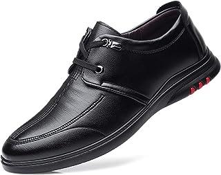 DADIJIER Oxfords de los Hombres Zapatos de Vestir de Costura Lisa del Delantal del Delantal del Delantal de 2 Ojos hacia A...