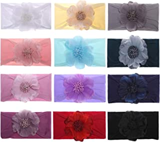 inSowni 12 Pack Solid Super Stretchy Nylon Flower Headbands Turban Headwraps Hair Accessories for Baby Girls Toddlers Newb...
