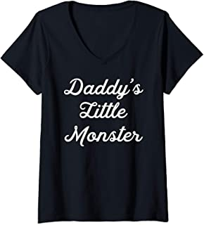 Womens Daddy's Little Monster Cool Awesome Squad Gift V-Neck T-Shirt