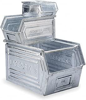 14/7 Stacking Steel Bin Box, 6X4X3, Galv