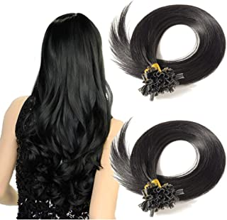 U Tip Remy Human Hair Extension Dark Black 100 Strands/50g Pre Bonded Italian keratin Nail Tips Superior Salon Quality (22 inch #1)