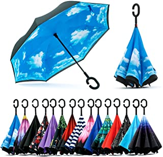 Siepasa Unisex-Adult Spar. Saa Double Layer Inverted Umbrella with C-Shaped Handle, Anti-UV Waterproof Windproof Straight Umbrella for Car Rain Outdoor Use, Sky Blue/Black, X-Large