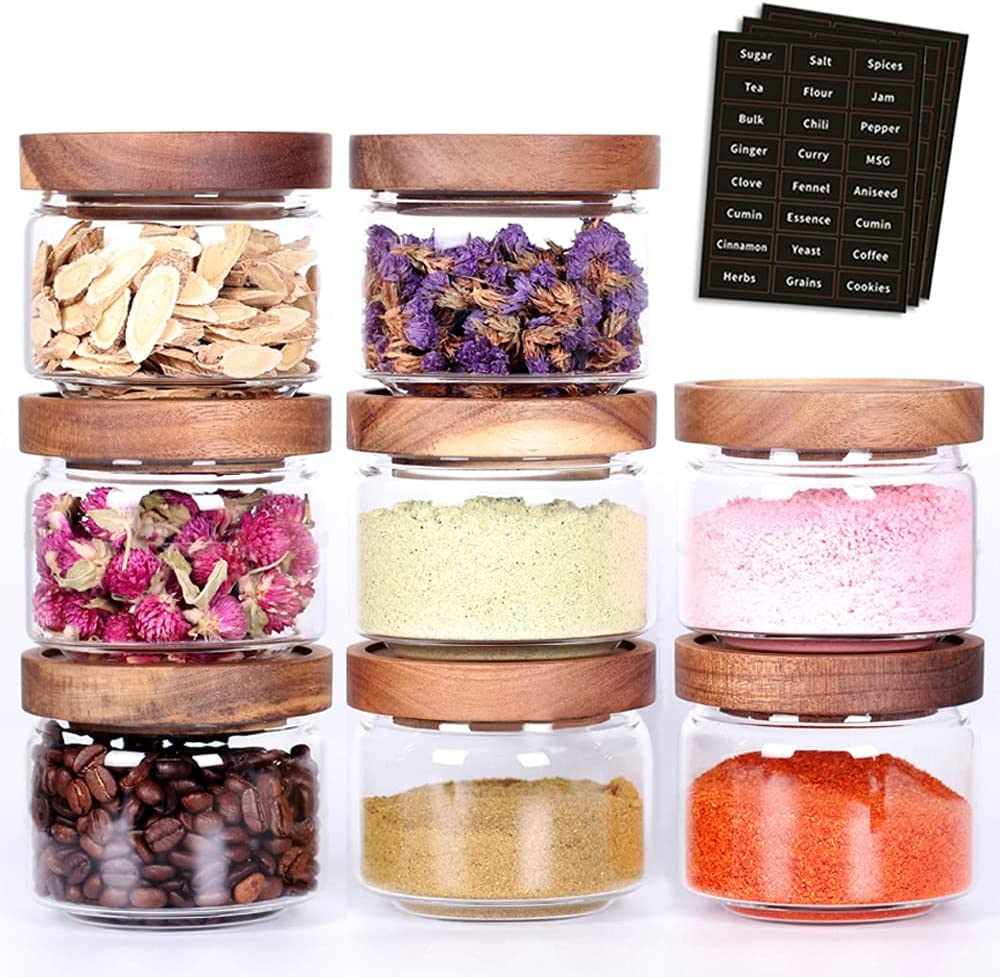 Tzerotone 8 Pcs Spice Containers - Columbus Mall NEW before selling ☆ Jars With A 8.5oz Glass