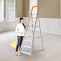 Happer Premium Foldable Aluminium Step Ladder, Clamber Pro, 7 Steps (Orange & Satin)