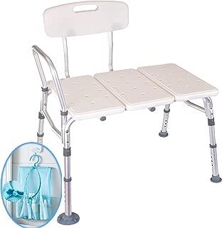 Medokare Shower Transfer Bench Seat – Over Tub Transfer Bench Shower Chair for Elderly, Handicap Transfer Bench for Adults, Adjustable Bathroom Shower Seat with Tote Bag