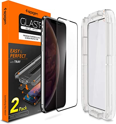 """Spigen, 2Pezzi, Vetro Temperato Compatible con iPhone XS/X (5.8""""), Ez Fit, Kit di Installazione Incluso, Custodia Compatibile, Compatibile con Face ID, Pellicola per Schermo Compatible con iPhone X/XS"""