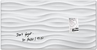 Sigel GL260 - Pizarra de cristal magnética, 91 x 46 cm, diseño White-Wave