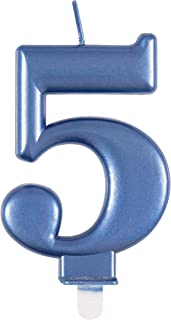 Unique Party 19615 Metallic Blue Number 5 Birthday Candle