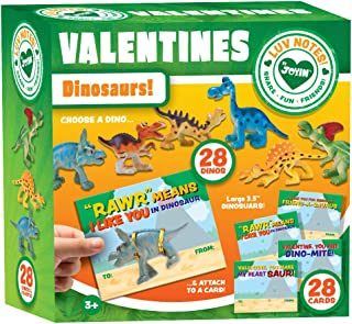JOYIN 28-Count Valentines Day Gifts Cards for Kids with Dinosaur Toys