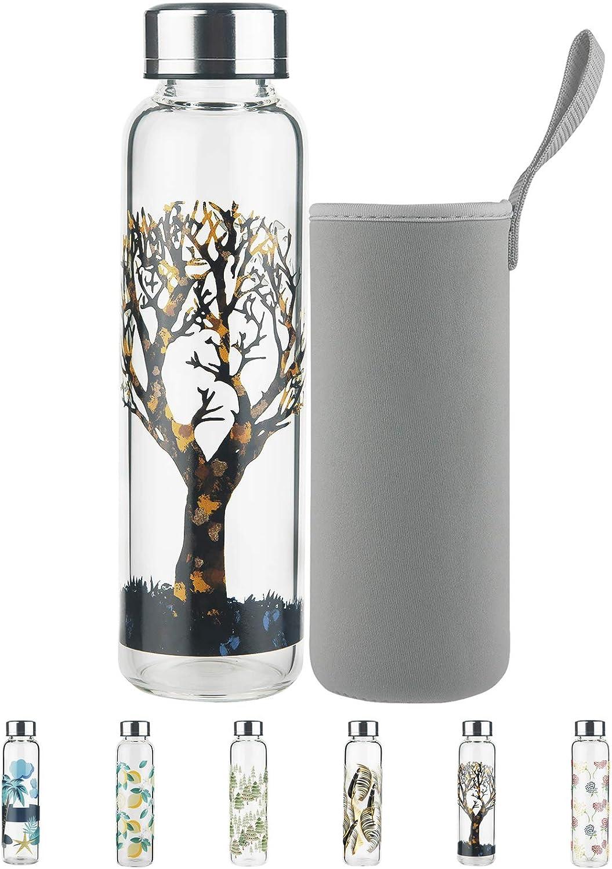 Botella de Agua de Cristal - 500 ml / 1 L Botella de Agua de Vidrio de Borosilicato sin BPA con Tapa a Prueba de Fugas y Funda de Neopreno, Perfecta para Oficina, Fitness, Viajes
