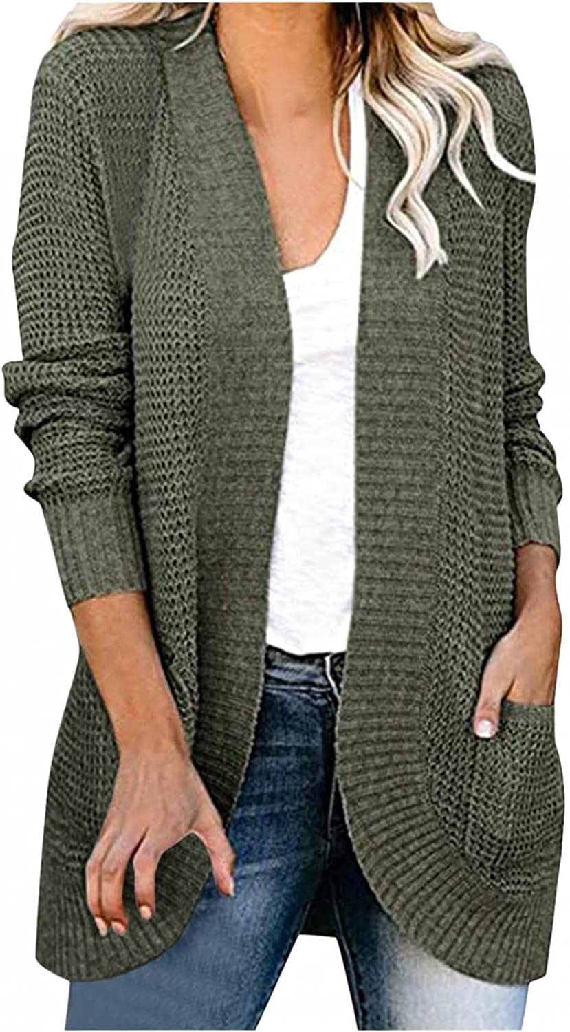 AODONG Cardigan for Women Long Sleeve Casual Knitted Sweater Open Front Cardigan Loose Outerwear with Pockets