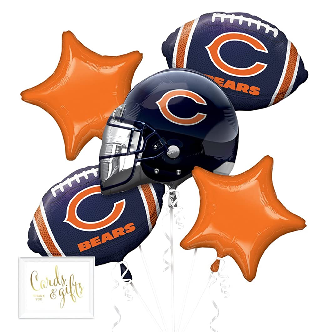 Andaz Press Balloon Bouquet Party Kit with Gold Cards & Gifts Sign, Chicago Bears Football Themed Foil Mylar Balloon Decorations, 1-Set