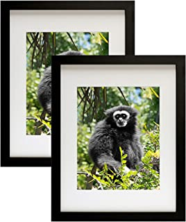 Golden State Art, Set of 2, 11x14 Black Photo Frame with Real Glass and White Mat for 8x10 Picture (Pack of 2)