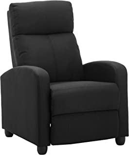 LSSBOUGHT Fabric Recliner Chair Adjustable Home Theater Single Recliner Sofa with Thick Seat Cushion and Backrest Modern Living Room Recliners, Black