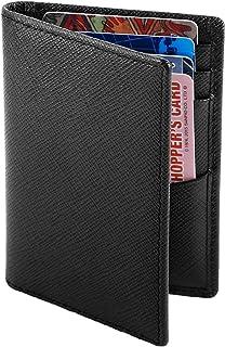 Slim Wallets, Leather Bifold Card Holder, RFID Blocking, Front Pocket for Men. (Black 1)