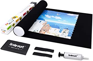 Lavievert Jigsaw Puzzle Roll Mat Puzzle Storage Saver Black Felt Mat, Long Box Package, No Folded Creases, Jigroll Up To 1,500 Pieces - Comes with A Drawstring Opening Design Bag and A White Mini Hand