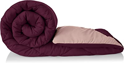 Amazon Brand - Solimo Microfibre Reversible Comforter, Single (Plum Purple and Moody Mauve, 200 GSM)