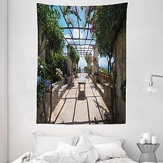 Italian Decor Tapestry, Beautiful Panorama Villa Rufolo Ravello Amalfi Coast Historical Famous Nature, Wall Hanging for Be...
