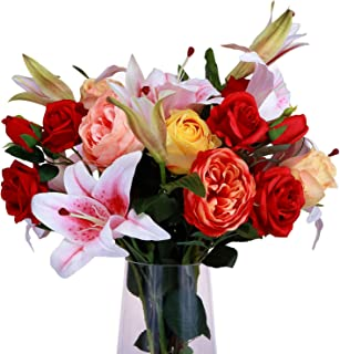 MARLLES Artificial Flowers Mixed Bouquets - Include Lifelike Big Blooms Fake Roses, Pink Silk Lilies for Mother's Day, Anniversary, Birthday, Graduation, Wedding Home Decoration