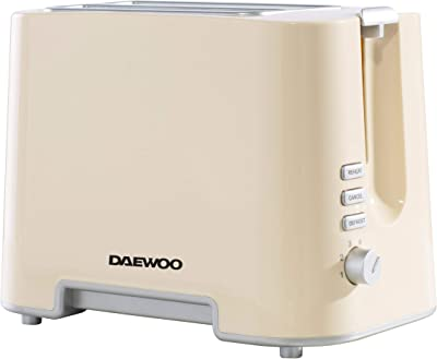 Daewoo SDA1688GE ' Plastic Chrome Electronic Browning Control and Cancel, Defrost & Reheat Functions, Auto Pop-Up and Easy Clean Slide Out Crumb Tray, 730-870W Power, Cream 2 Slice Toaster