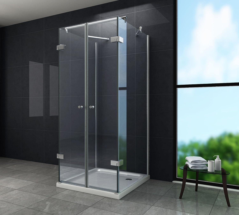 U-Duschkabine 8 mm Designer Duschabtrennung Dusche Echt Glas 80 x 80 x 195 cm AVILO ohne Duschtasse