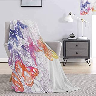 Luoiaax Watercolor Bedding Fleece Blanket Queen Size Fantastic Composition with Flying Butterflies Flourishing Flowers Soft Warm Plush Blanket W70 x L93 Inch Violet Blue Orange Pink