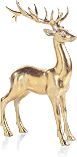 Zodax Clara Gold Standing Deer Statue Christmas Figurines,