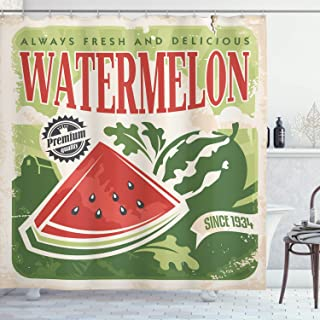 Ambesonne Vintage Shower Curtain, Vintage Old Fashioned Funny Watermelon with Faded Colors Classic Graphic Art, Cloth Fabric Bathroom Decor Set with Hooks, 70