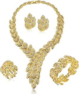 MOOCHI Gold/Silver Plated Scarf Bib Style Crystal Chain Necklace Bracelet Earrings Ring Jewelry Set African Indian Women Costume Fashion Dress Accessories