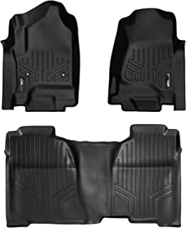 MAXLINER Floor Mats 2 Row Liner Set Black for Crew Cab 2014-2018 Silverado/Sierra 1500 - 2015-2019 2500/3500 HD