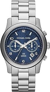 ساعة مايكل كورس هنغر ستوب للنساء بمينا ازرق وبسوار من الستانلس ستيل - MK5814