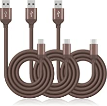 Type C Charging Cable, UMECORE 3Pack 3FT Type A USB to USB C Charging Cord for Galaxy S10 S10E S9 S8 Note 9 S8+ Note 8, Google Pixel, Huawei P20, LG G6 G7, HTC 10, Oneplus 5,3T, USB C (Brown)