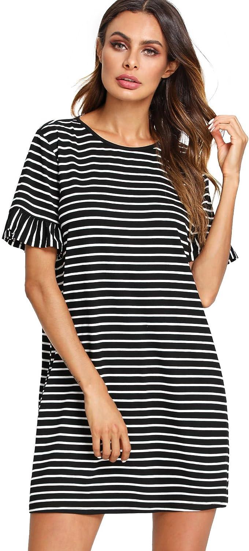 Floerns Women's Summer Casual Ruffle Short Sleeve Tunic Striped T-Shirt Dress