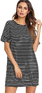 Floerns Women's Striped Short Sleeve Loose Swing T-Shirt Dress