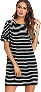 Women's Striped Short Sleeve Loose Swing T-Shirt Dress