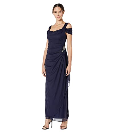 Alex Evenings Long Cold Shoulder Dress with Cowl Neckline (Navy) Women