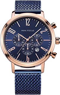 Men's Watch Multi-Function Quartz Chronograph Watches Luxury Stainless Steel Mesh Band Calendar Casual Wrist Watch for Men