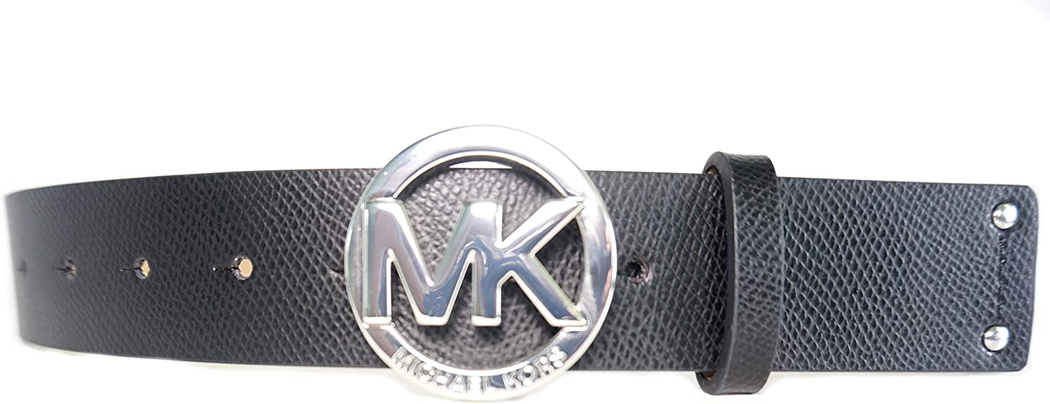 Michael Kors Womens Genuine Leather Silver Logo B Buckle At Challenge the lowest price the price Belt MK