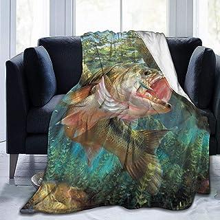 Fisherman/'s Dream...Fish Print Plush Fleece Blanket With Teal Blue Fleece On Reverse Adult OR Teen Blanket